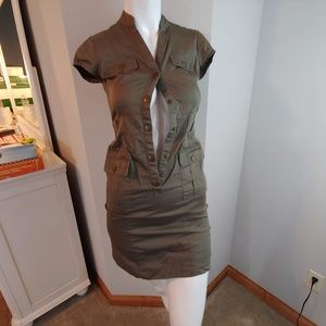 Womens 4 H&M dress button up olive green